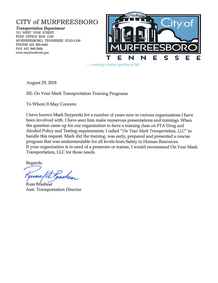 Testimonials – On Your Mark Transportation – Bus and Motorcoach